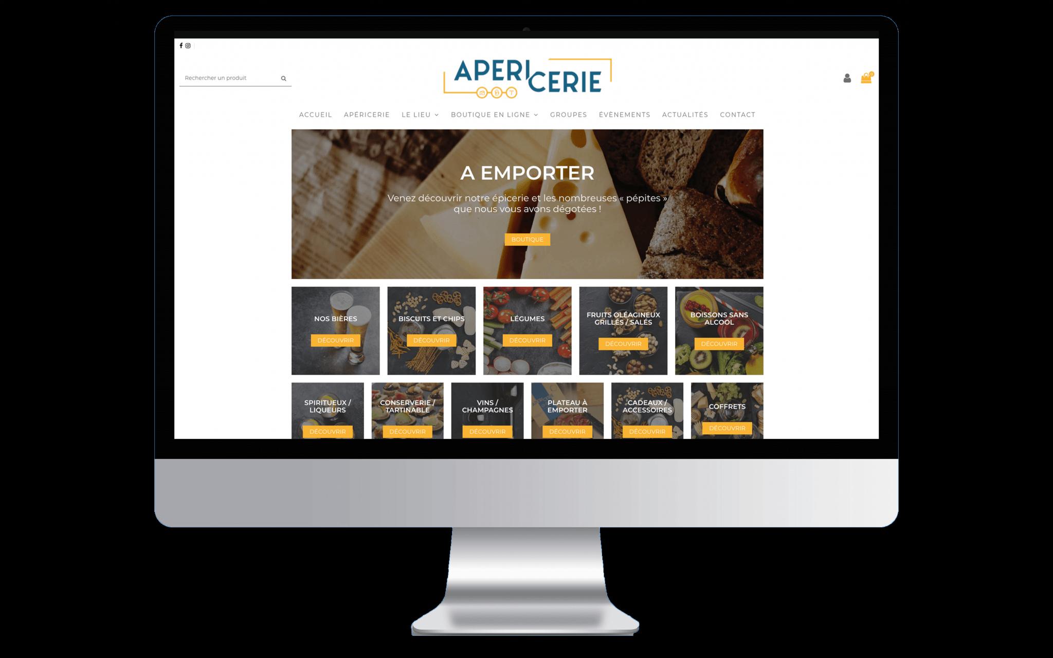 Mockup d'un ordinateur affichant la page d'accueil de L'Apéricerie en entière.