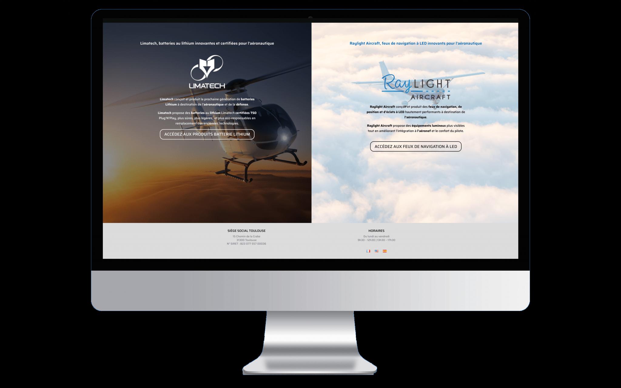 Mockup d'un ordinateur affichant la page d'accueil de Polytec Industrie en entière.
