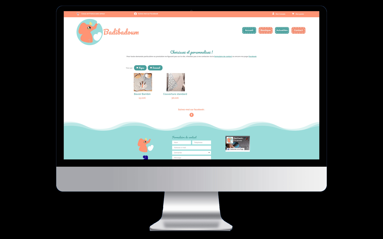 Mockup de la page boutique de l'entreprise Badibadoum en entière