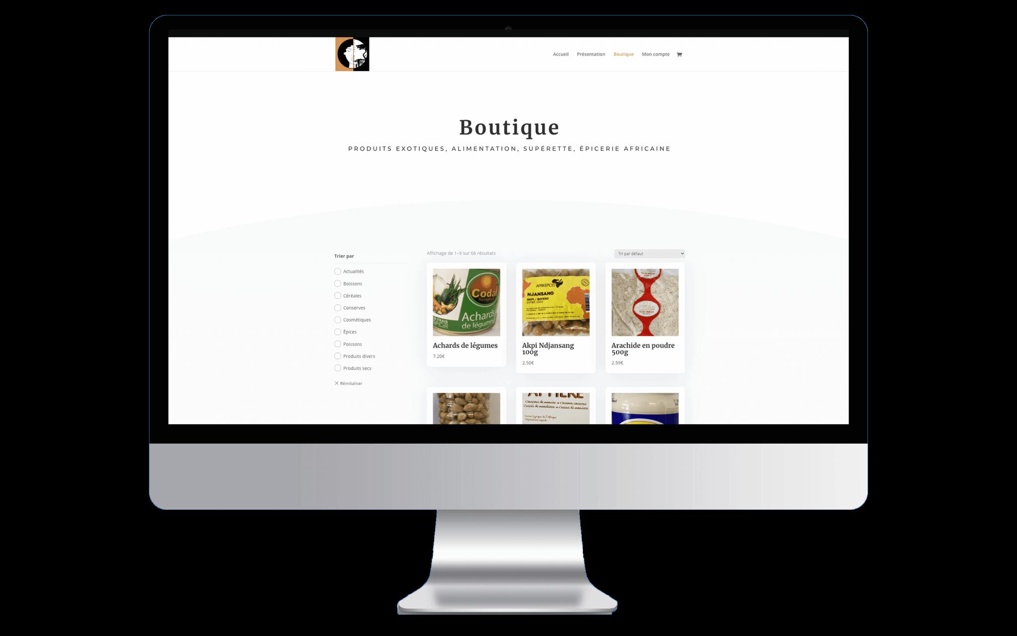 Mockup de la page boutique de l'entreprise Adjame-Madina