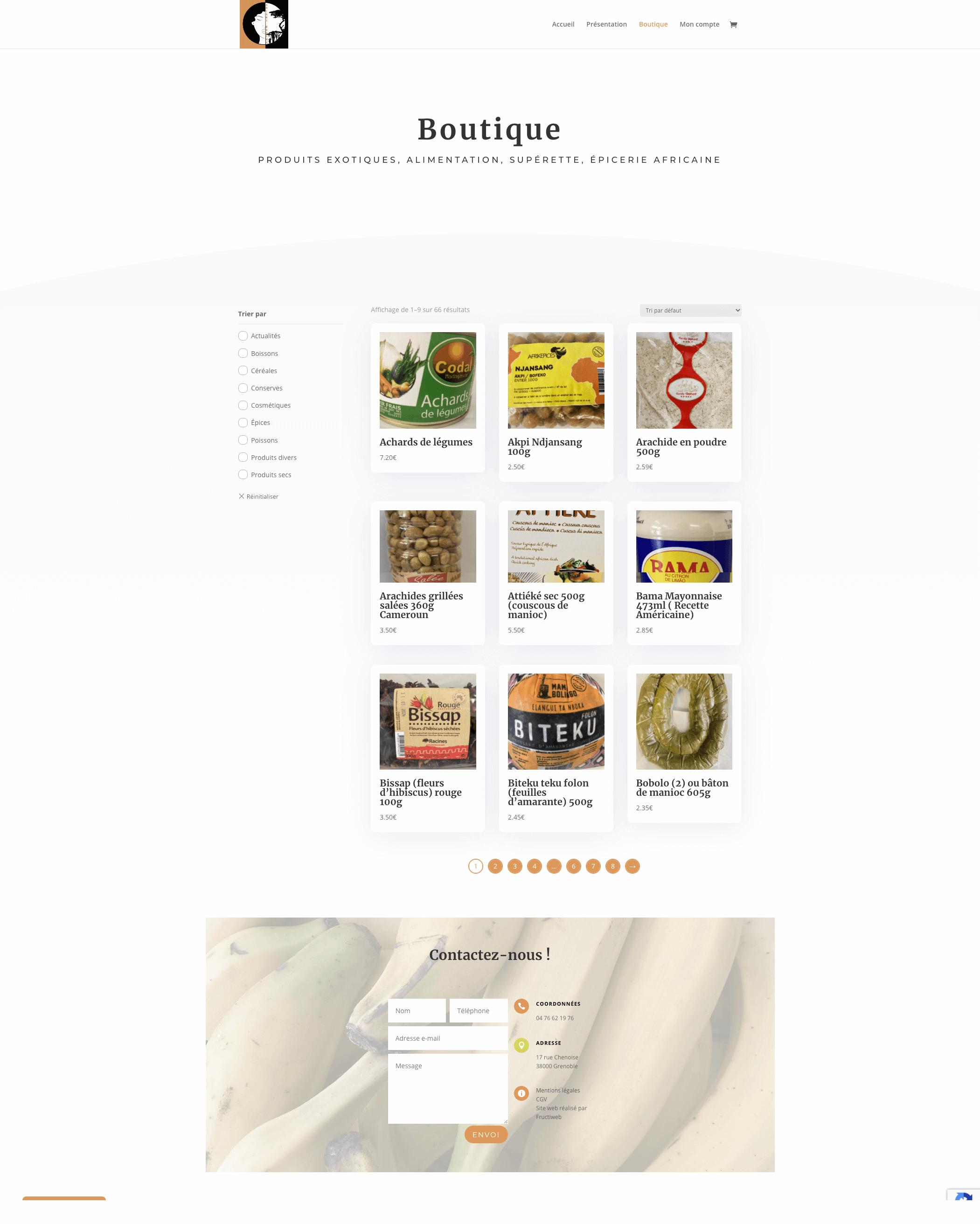 Capture d'écran de la page boutique de l'entreprise Adjame-Madina